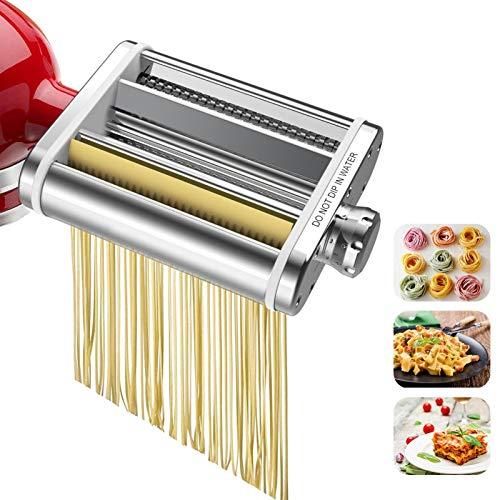 Acessório para fazer massa, conjunto de acessórios para macarrão 3 em 1 para batedeiras de suporte KitchenAid, rolo de folha de massa durável, cortador de espaguete, cortador de fettuccine, acessórios de fixação para máquina de macarrão para Kitchen-Aid