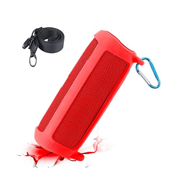 co2crea silicone travel case replacement for jbl flip 5 waterproof portable bluetooth speaker (red case)