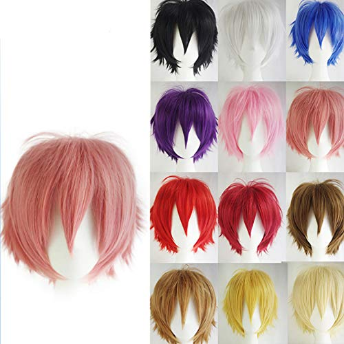 Europa E America Anime Cosplay Capelli Corti Anti-Warping Men's Wig Copricapo Universale Cos Multicolor,Golden