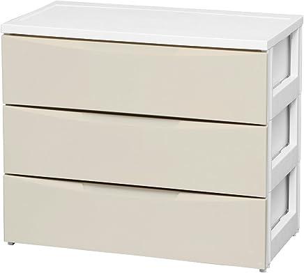 アイリスオーヤマ カラーコーディネートチェスト ワイド 3段 幅72×奥行41.5 ホワイト/アイボリー COD-723