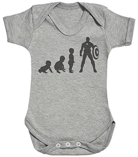 Baby Evolution to A Captain Baby Body bébé - Gilet bébé - Body bébé Ensemble-Cadeau - Naissance Gris