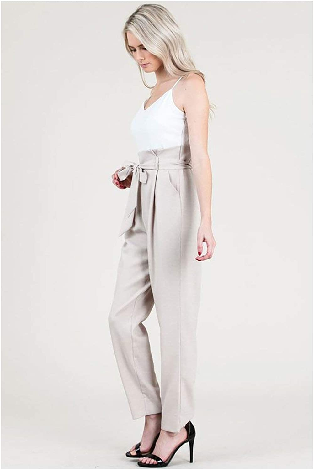 &merci Paper Bag Jumpsuit with Contrast Tank Top