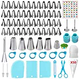 ANSLYQA 125 Pcs Icing Piping Tips and Bags Set with 48 Numbered Small Tips,5 Large Tips,1 Grass Tip,1 Cream Puff Tip,50 Pastry Bags,3 Couplers,3 Scrapers,6 Bag Ties,1 Cake Pen for Cake Decorating