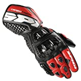 A134-021 XL - Spidi Carbo Track Leather Motorcycle Gloves XL Black Red