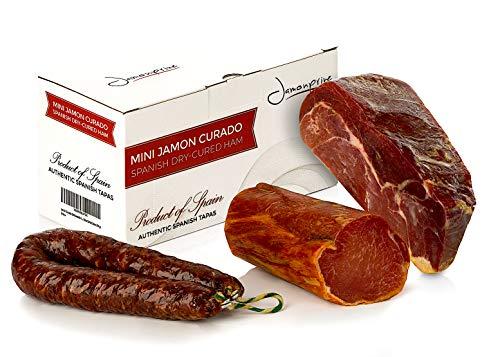 Serrano Schinken Gereift ohne Knochen 1 Kg + Lomo (Lende) Duroc Natural 250 gr + Salchichón Serrano Dauerwurst Extra 200 gr - Spanischer Schinken Jamonprive