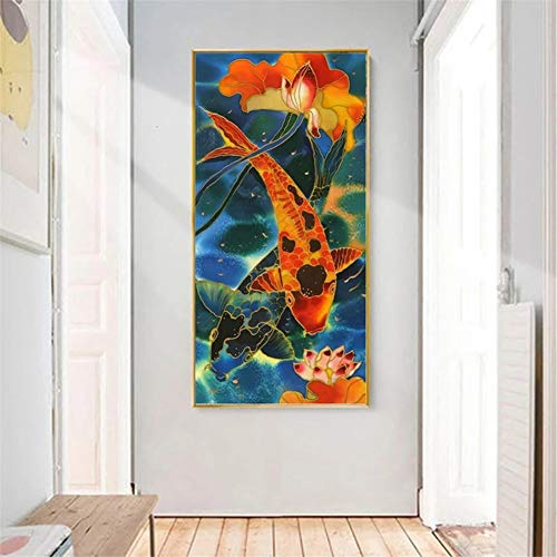 DIY 5D Diamond Painting Kits for Adults Chinese Koi DIY (70x140cm/25x56in) Large Size Diamond Art Kits Cross Stitch Rhinestone Embroidery Mosaic Pattern, Wall Decor Gifts for Home Room Wall