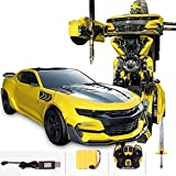 MUMUMI RC Wireless Transformers Robot Remote Control Car,Rechargeable Deformation Autobots Children Toy Boy Optimus Prime Bumblebee,Kid's Birthday Remote Control Toy Car Gift (Color : Yellow)