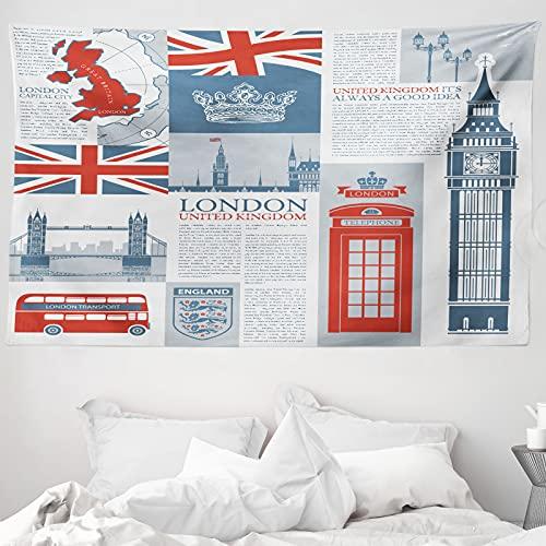 ABAKUHAUS Handyzelle Wandteppich & Tagesdecke, London, Vereinigtes Königreich, aus Weiches Mikrofaser Stoff Wand Dekoration Für Schlafzimmer, 230 x 140 cm, Schiefer-Blau Vermilion
