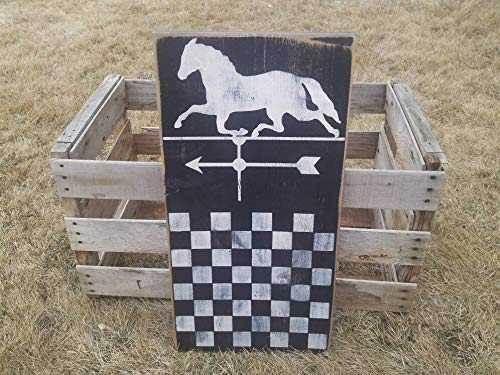 Yilooom Primitive Gameboard, Pferde-Wetterfahne, rustikales Holzkarierbrett, Primitive Wanddekoration, Spielbrett-Display, Primitive Americana, Kolonial