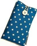 Handytasche aus Stoff - STERNE AUF PETROL - mit Knopf für SAMSUNG® Galaxy® S20, S10, Note10, S9,...