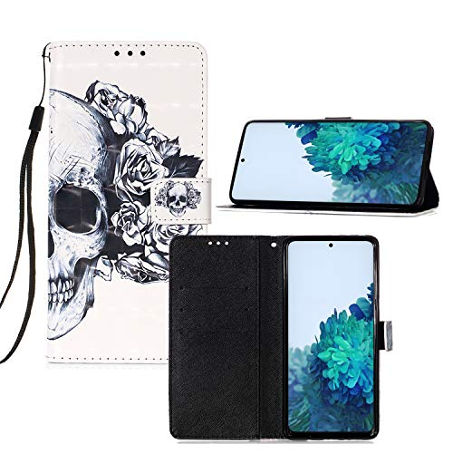 IVY [3D Color Pattern Design][Skull Rose Flower] Carteira Capa Case para Sony Xperia XZ3 Cover