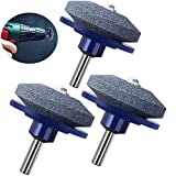 SuperThinker Lawn Mower Blade Sharpener Universal for Any Power Drill/Hand Drill,Lawnmower Blade Sharpen Grinder Wheel Stone for Lawn Mower & Mower Blades (3 Pack)