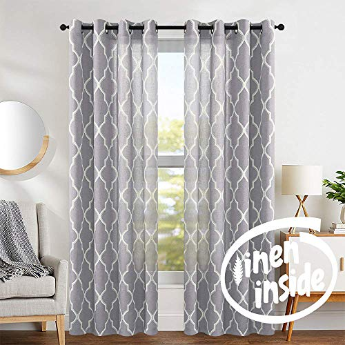 "jinchan Quatrefoil Linen Blend Curtains - Moroccan Tile Pattern Print Curtain Window Curtain Panels for Living Room Geometry Lattice - 50"" W x 84"" L - (Gray, Set of 2 Panels)"