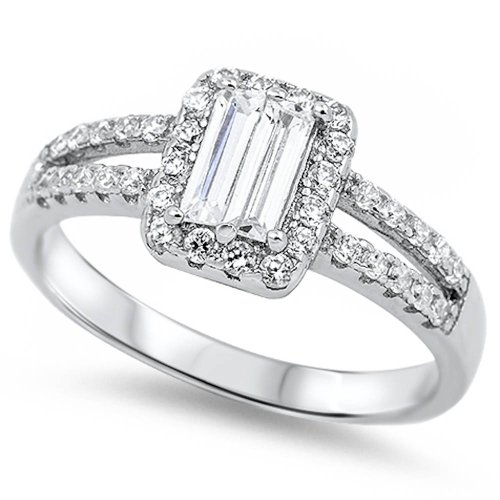 Simulated Emerald cut & Round Cz Fashion Engagement .925 Sterling Silver Ring Size 10
