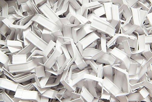 100 Stück Verschluss - Clips/Clipse (Weiß / 40 x 7 mm) Drahtverstärkt