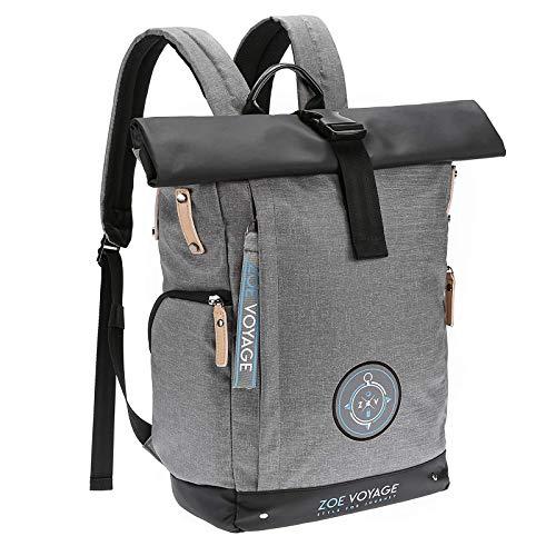 ZOE Voyage Rolltop Rucksack, wasserdicht, Tagesrucksack mit Laptopfach und USB Ladeanschluss, Reiserucksack grau 21-31l