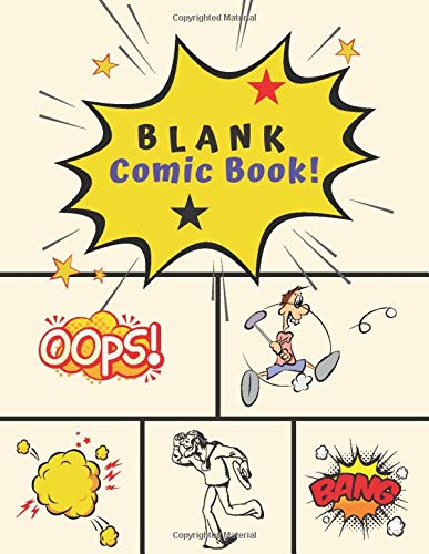 Blank Comic Book: Create your own unique comic strip and graphic novel - blank comic panels for Doodling, sketchbook pad for kids, teens, adults and ... panel templates, 8.5 x 11 Inch (volume 1)