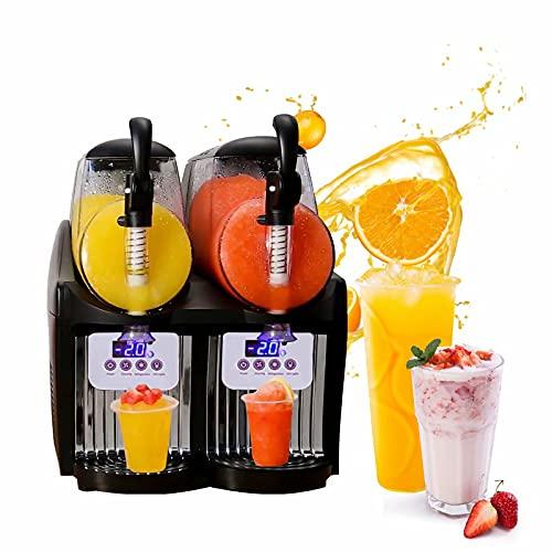 HANMIAO Gewerbliche Slush Eismaschine, 2X2,5L Tanks Eisbrecher-Smoothie-Maschine Eisschaver-Maschine Schnee-Kegel Slush Maker Maschine für gefrorenes Getränk, LCD-Display, 34x37x44 cm