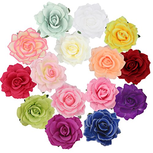 Cubaco Rose Hair Clips and Brooches for Women, 15 Packs Vintage Flower Brooch Pin Boho Hair Clip