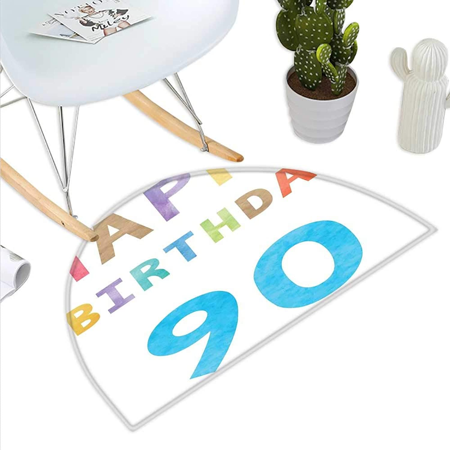 90th Birthday Semicircle Doormat Happy Greeting Lettering in Watercolors Pastel Text with Paint Effect Image Halfmoon doormats H 43.3  xD 64.9  Multicolor