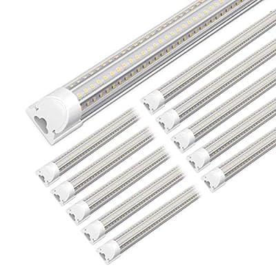 Kihung LED 8ft Shop Light, 90W V Shape Tube Light T8, 11700lm, 6000K, Linkable LED Shop Light Fixture, High Bay, 8' Integrated LED Strip Light Fixture, Clear Lens, Hardwired Installation (10 Pack)