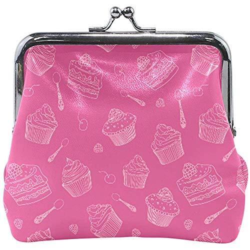 Brieftasche Rosy Farbe Cupcakes Löffel Dessert Münze Geldbörse Beutel Leder Wechselhalter Karte Clutch Handtasche