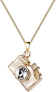 Monnel NC053 Cute White 3D Crystal Camera Charm Pendant Necklace, Standard