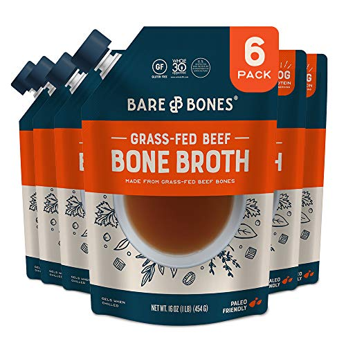 Bare Bones Beef Bone Broth for Cooking and Sipping, 100% Grass-fed, Organic, Protein and Collagen Rich, Keto Friendly, 16 oz, Pack of 6