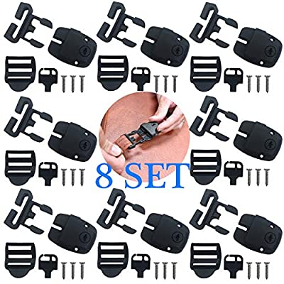 8 Set Hot Tub Cover Clips Replacement Latch Repair Kit Have Slot, Latches Clip Lock with Keys and Hardwares