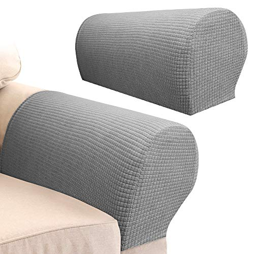 Your's Bath 2Pcs Armrest Covers Spandex Stretch Fabric Waterproof Arm Caps Anti-Slip Furniture Protector Slipcovers for Armchairs Sofa Couches Recliner (Light Grey)
