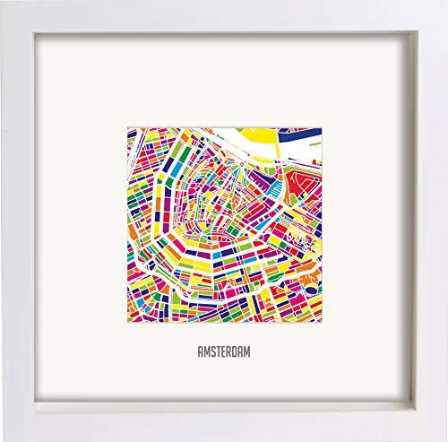 Lumartos, Amsterdam Centrum Abstract Modern Modern Mozaïek Omlijst Muur Art Street Kaart Print (313)