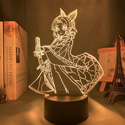 Anime Demon Slayer Kocho Kanae Kochou Shinobu Butterfly Girl Ninja 3D acrílico LED luz de noche para niños ventiladores dormitorio lámpara de mesa USB regalo para niños decoración del hogar