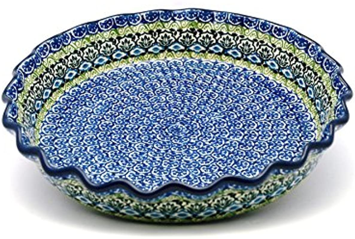 Polish Pottery Baker Pie Dish Fluted Tranquility
