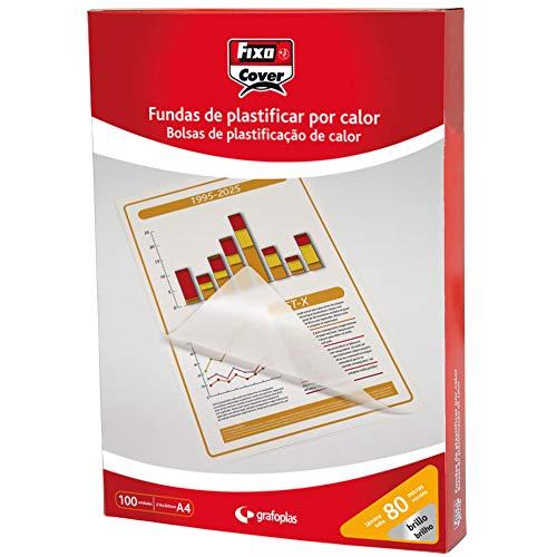 Fixo Cover 1020100 - Caja de 100 Fundas para Plastificar A4, Brillo, 216X303Mm, 80 Micras