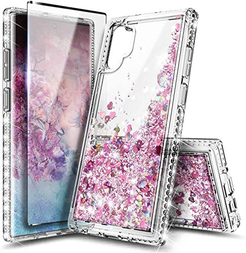 NZND Galaxy Note 10 Case with Screen Protector (Soft 3D Full Coverage), Sparkle Glitter Flowing Liquid Quicksand, Protection Durable Women Girls Cute Phone Case for Samsung Note 10 (Rose Gold)