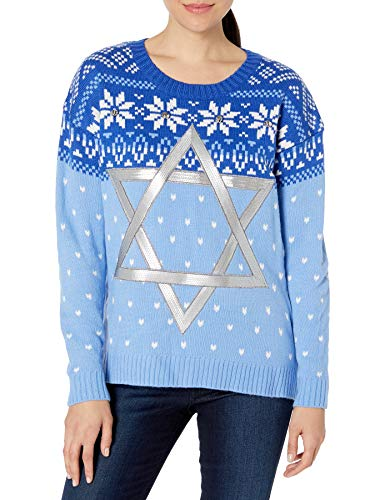 Blizzard Bay Women's Hanukkah Sweater, Blue Star, Large