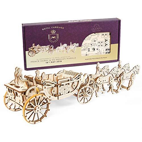 UGEARS- Royal Wedding Carriage Mechanical Wooden Model Kit Maqueta de Madera, Color (70050)