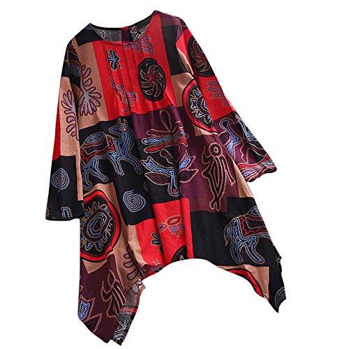 VJGOAL Femmes Top Femme Chemisier Femme Grande Taille Haut Manches Longues Print Chemisier Pull Shirt DéBardeur (FR-52/CN-5XL,Rouge)