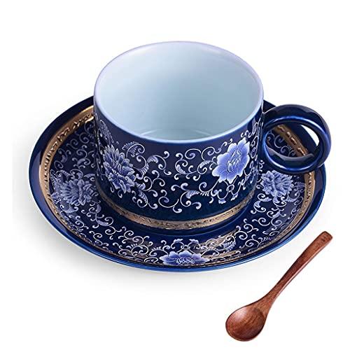 YHshop Taza de café Conjunto de Taza de café Conjunto de 3 cerámica de Gran tamaño Tazas de café Restaurante Porcelana Tazas apilables Platos Café Latte Estilo Chino y té Taza de Agua (Color : A)