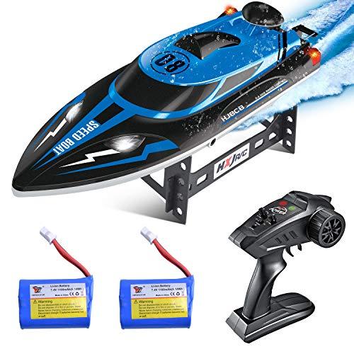 ETEPON Ferngesteuertes Boot, 2,4 GHz 25KM/H Hochgeschwindigkeit RC Boot für Pools und Seen, 180°Auto Flip Wasserdichtes Rennboot Spielzeug für Kinder und Erwachsene (EHJ808)