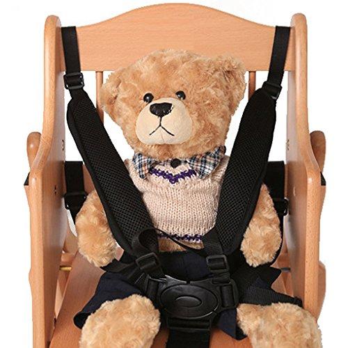 Kongnijiwa - Cintura di sicurezza universale a 5 punti, per passeggino, seggiolone, carrozzina, passeggino per bambini, con bottone nero