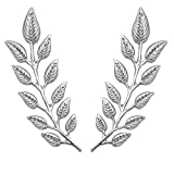 MINGHUA Gentlemen Suit Brooches Simple Elegant Double Leaf Collar Pin Brooch Gold Silver Plant Brooch (Silver)