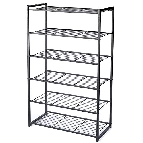 HOUSE DAY 6 Tier Shoe Rack Organizer Entryway Shoe Storage, Black Shoe Rack with Premium Metal, Space-Saving Design, Easy to Assemble, 25 Inch Perfect Size, Sturdy & Elegant for Shoes Organizing