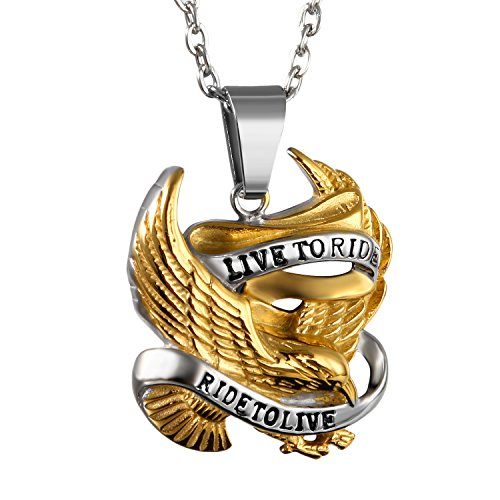 OIDEA Bikers Mens Stainless Steel Punk Rock Live to Ride Eagle Pendant Necklace,Gold Tone,22 Inch Chain Included