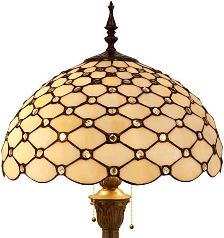 Tiffany Floor Lamp W16H64 Inch Tall Amber Stained Glass Crystal Pear Bead Lampshade S005 WERFACTORY product image