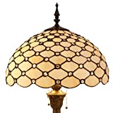 Tiffany Floor Lamp Crystal Pear Bead Stained Glass Lampshade Coffee Table Reading Lamps Antique Style Base Lighting W16 H64 Inch Living Room Bedroom Bookcase Dresser Bedside Desk S005 WERFACTORY