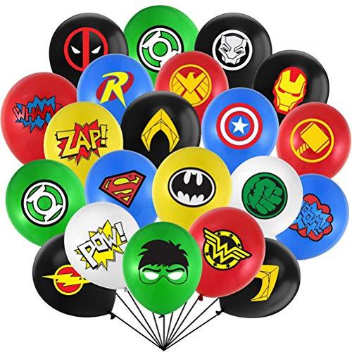 Kit de suministros de fiesta de superhéroe ZSWQ-Superheroes Globos globos de látex, decoraciones de fiesta temáticas de superhéroe para Favores Regalo Carnaval Boda