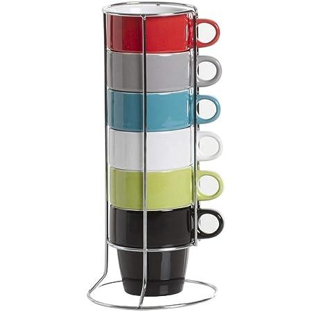 Lot de 6 tasses FIVE SIMPLY SMART couleurs assorties avec support.