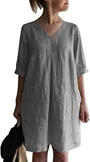Doufine Women's V-Neck Solid-Colored Loose Linen Cotton Summer Dress