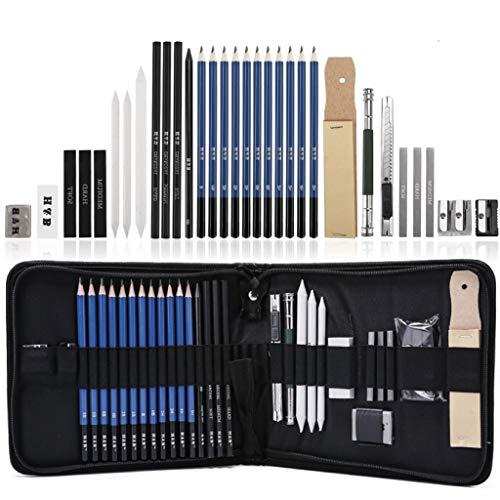 Kaimirui Lápices de Madera, Lapices de Dibujo Artístico, Lypumso Set de Lápices Profesional del Artista y Bosquejo Carbón Grafito Sticks,para Artista Principiante Niños(33 piezas)